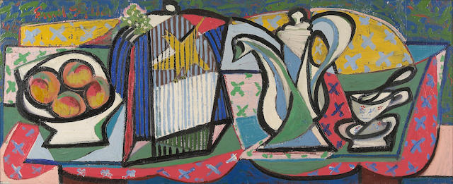 Emil Filla (Czechoslovakian, 1882-1953) Still life with tea service and fruit, 1946 16 15/16 x 41 5/16in (43 x 105cm)