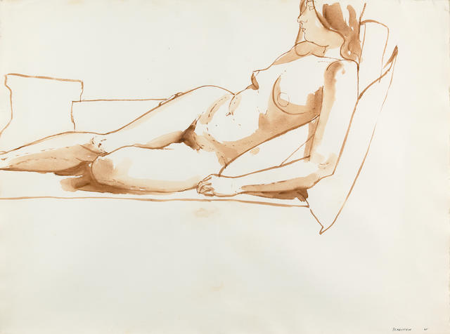 Philip Pearlstein (American, born 1924) Reclining nude (double-sided), 1965 22 1/4 x 30in (56.5 x 76.2cm)