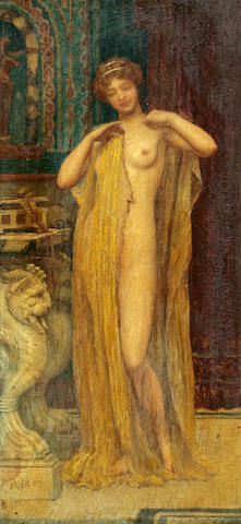 John William Godward, RBA (British, 1861-1922) After the bath 11 1/2 x 5 1/2in (29.2 x 13.9cm)