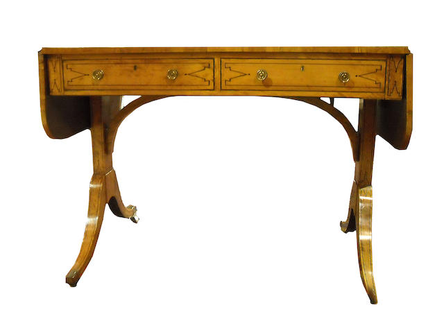 A Regency satinwood crossbanded rosewood sofa table