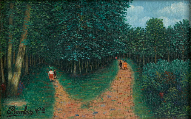 Camille Bombois (French, 1883-1970) Untitled (Figures in the forest) 5 3/4 x 8 3/4in (14.6 x 22.2cm)