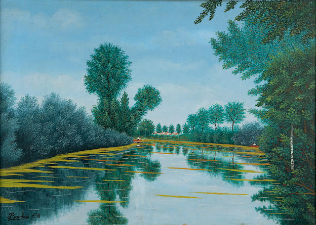 Camille Bombois (French, 1883-1970) River scene 13 1/4 x 18 1/4in (33.6 x 46.4cm)