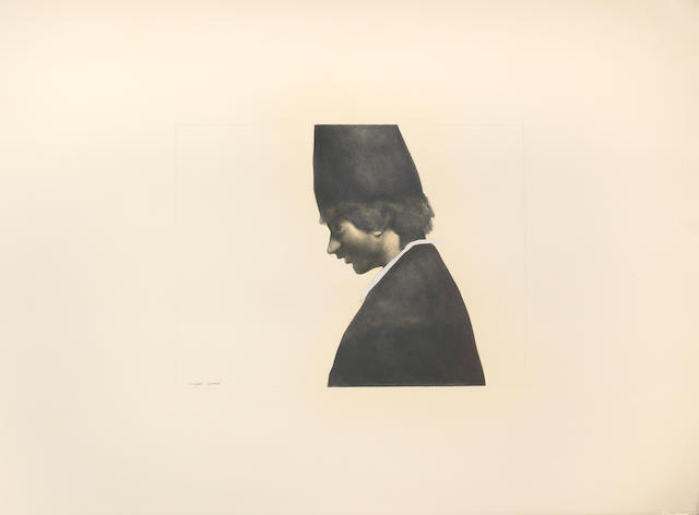 Rafael Coronel (Mexican, born 1932) Untitled (Portrait of a boy in profile) 22 x 30 1/4in (55.9 x 76.8cm) unframed