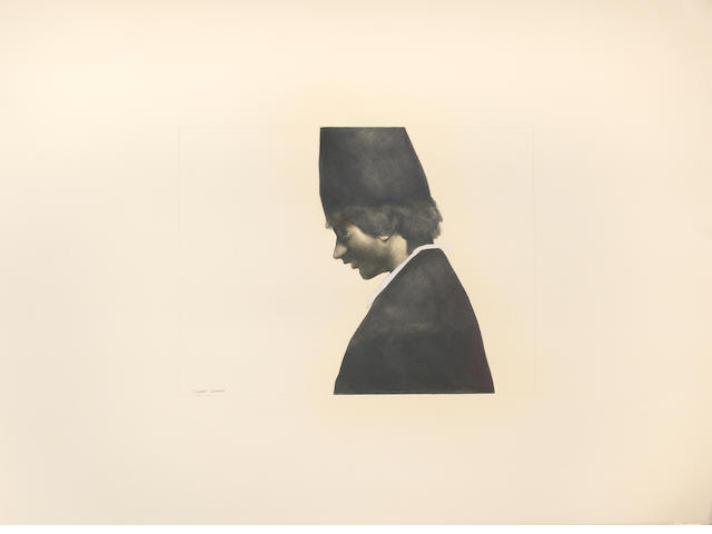 Rafael Coronel (Mexican, born 1932) Untitled (Portrait of a boy in profile) 22 x 30 1/4in (55.9 x 76.8cm) unframed