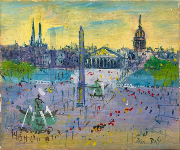 Jean Dufy (French, 1888-1964) Place de la Concorde 8 3/4 x 10 3/4in (22.2 x 27.3cm)