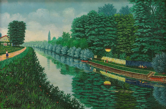 Camille Bombois (French, 1883-1970) The canal 8 11/16 x 13in (22 x 33cm)