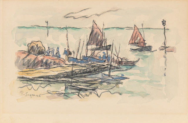Paul Signac (French, 1863-1935) Voiliers à quai paper 5 3/8 x 8 3/16in (13.7 x 20.8cm)