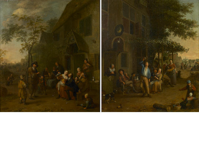 Attributed to Gillis de Winter (1650-1720) Figures merrymaking outside an inn; also a companion pain