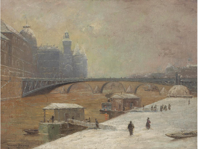 Pierre Ernest Prins (French, 1838-1913) Le Pont D'Arcole, 1886 19 1/4 x 25 3/4in