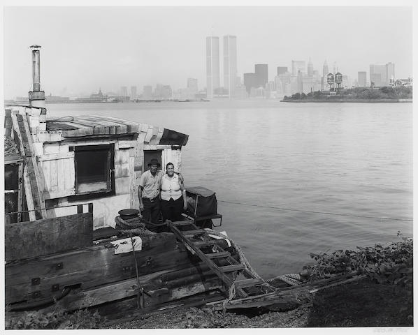 George Tice (American, born 1938); Charles & Violet on their houseboat, Jersey City, New Jersey;