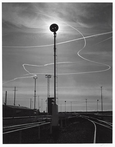 Ansel Adams (American, 1902-1984); Rails and Jet Trails, Roseville, California;