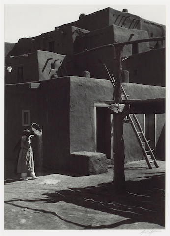 Ansel Adams (American, 1902-1984); Winnowing Grain, Taos Pueblo, New Mexico;