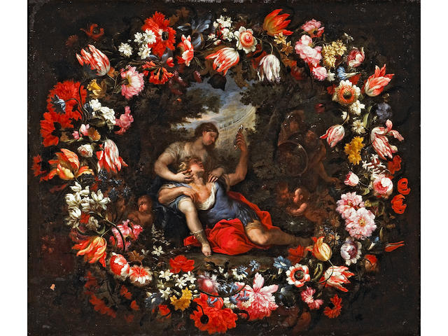 Mario Nuzzi (Italian, circa 1603-1673) Rinaldo in the arms of Armida within a garland of parrot tulips, poppies, morning glories and other flowers; also a companion painting of Rinaldo abandoning Armida within a similar floral garland (a pair) 38 x 44 1/2in (96.5 x 113cm)