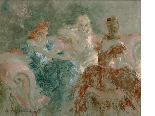 Louis Icart, Une soiree des femmes, oil on canvas, 20 x 24in