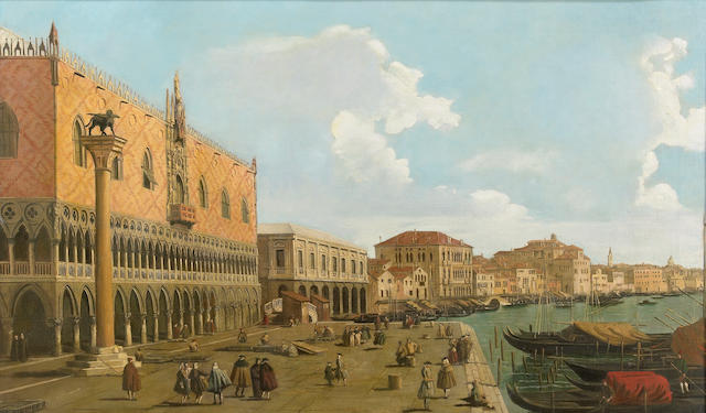 Follower of (il Canaletto), A view of Riva degli Schiavoni with the Doges Palace and figures, oil on canvas, 22 1/2 x 38 1/2in