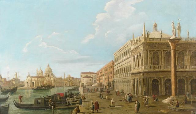 Follower of Giovanni Antonio Canale (il Canaletto), A view of Riva degli Schiavoni with the Santa Maria della Salute beyond, oil on canvas, 22 1/2 x 38 1/2in