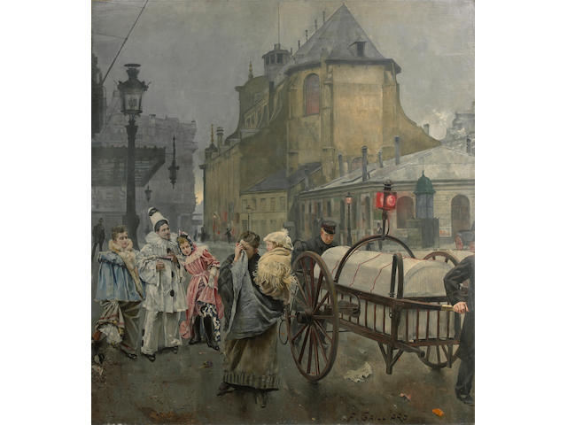 Franz Gailliard, La Place Sante Gudule a Bruxelles, oil on canvas, 94 x 84in