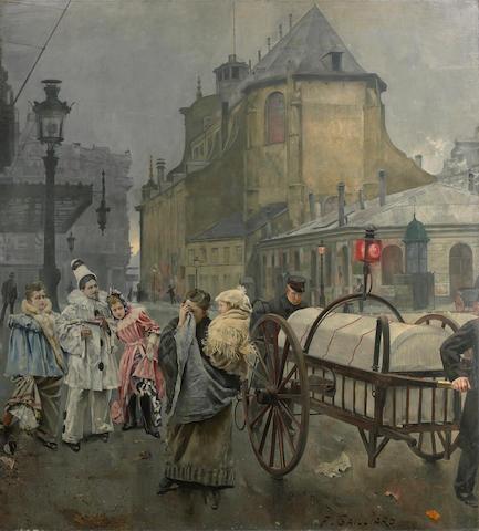Franz (Bernard) Gailliard (Belgian, 1861-1932) La Place Sainte Gudule à Bruxelles 95 x 84 3/4in (241.3 x 215.3cm) unframed