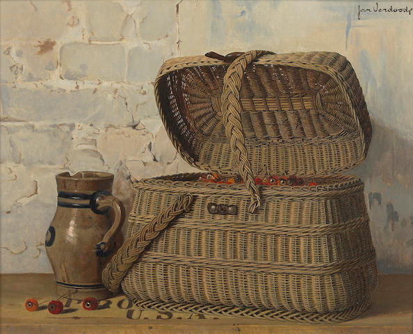 (n/a) Jan Verdoodt (Belgian, 1908-1980) A still life with a basket of cherries and a pitcher 22 1/4 x 27 1/2in
