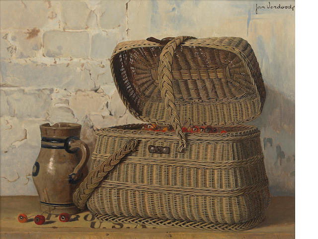 Jan Verdoodt, Still Life with Basket and Pitcher, oil on canvas, 22 x 27in