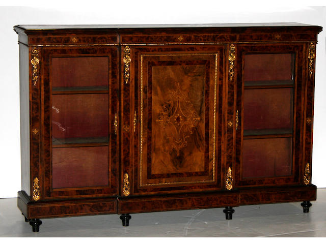 A Victorian walnut and burlwood inlaid side cabinet