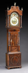 A George IV mahogany inlaid tall case clock, second quarter 19th century
