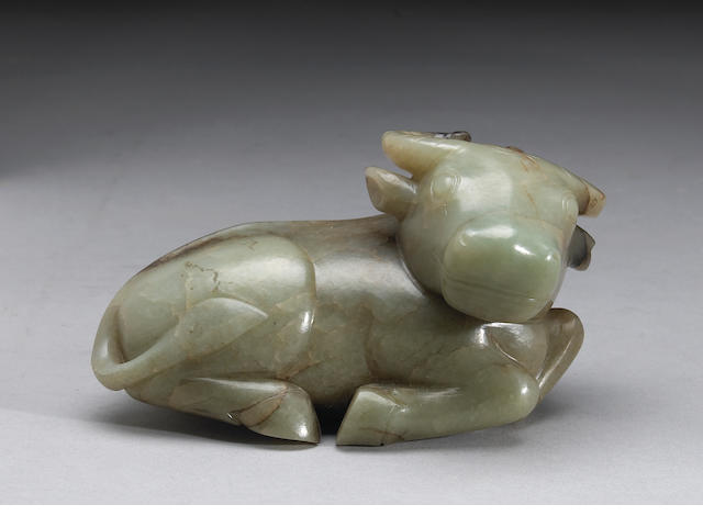 A carved nephrite figure of a recumbent ram