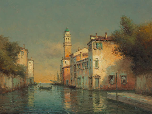 Noel Georges Bouvard (French, 1912-1975) 'The lone gondolier' 19 1/2 x 25 1/2in