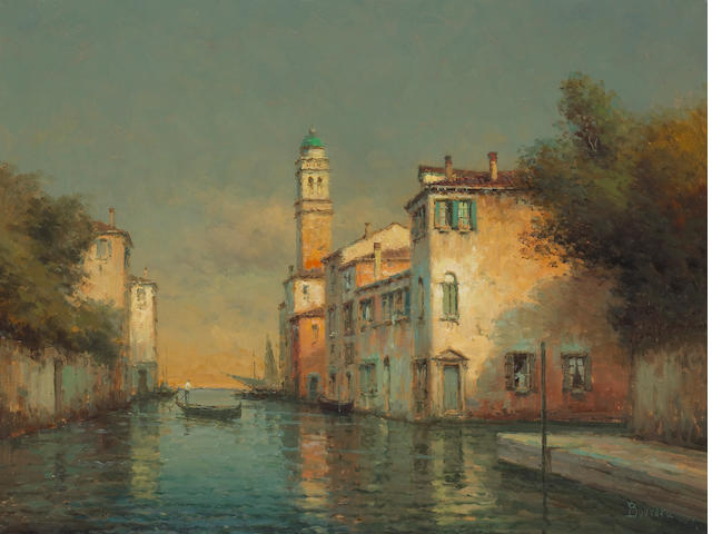 Noel Georges Bouvard (French, 1912-1975) 'The lone gondolier' 19 1/2 x 25 1/2in (49.5 x 64.7cm)