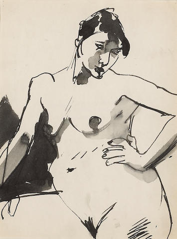 Elmer Nelson Bischoff  (1916-1991) Untitled (Seated Nude) 12 x 9in (30.5 x 22.9cm)