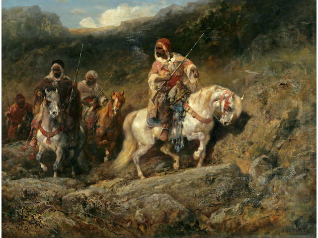 Adolf Schreyer (German, 1828-1899) An Arab horsemen in a mountainous landscape 23 1/2 x 31 1/2in (60 x 80cm)