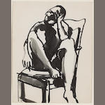 Elmer Nelson Bischoff (American, 1916-1991) Figure in Chair, 1960 11 x 8 1/2in (28 x 21cm)