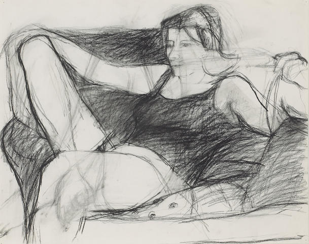 Richard Diebenkorn (American, 1922-1993) Untitled (Figure Study), c. 1958 14 3/4 x 18 3/4in (37 x 47cm)