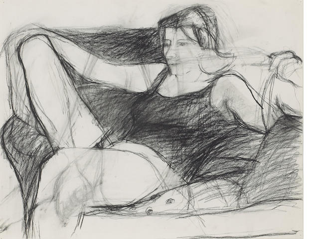Richard Diebenkorn (American, 1922-1993) Untitled (Figure Study), c. 1958 14 3/4 x 18 3/4in (37 x 47