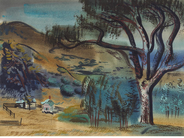Erle Loran (American, 1905-1999) Landscape with Farmhouse, c. 1930s 15 1/2 x 21in (39 x 53cm)