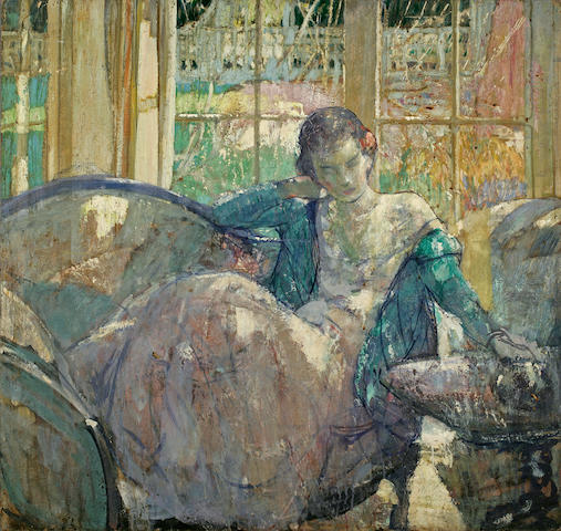 Richard Edward Miller (American, 1875-1943) Young woman seated on sofa; Seated young woman:a double-sided work 34 x 36in