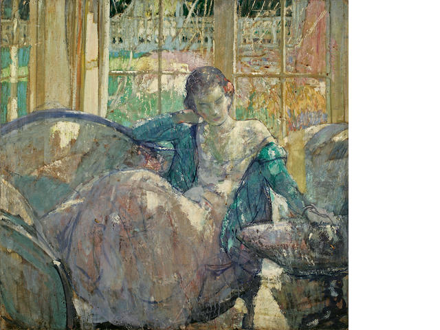 Richard Edward Miller (1875-1943) Lady Seated on a Couch 36 x 34in