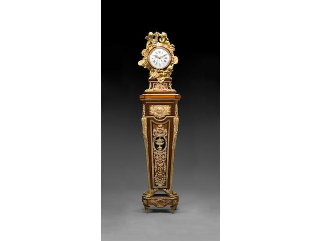 A good quality Louis XVI style gilt bronze mounted parquetry inlaid mahogany régulateur