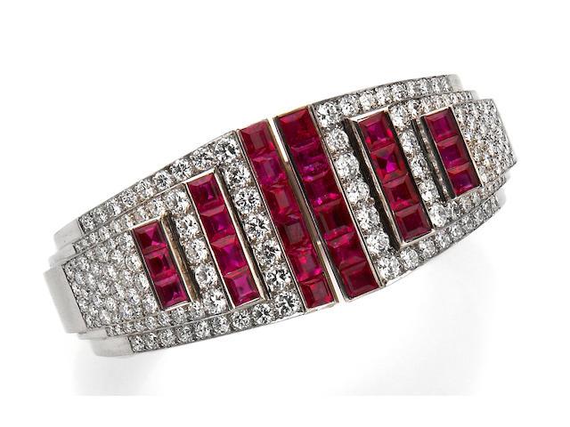 A retro ruby and diamond bangle bracelet, Cartier,