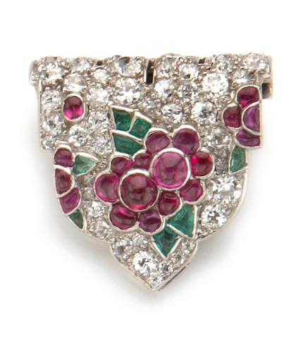 An art deco tutti frutti diamond and gem-set clip brooch, French, Cartier,