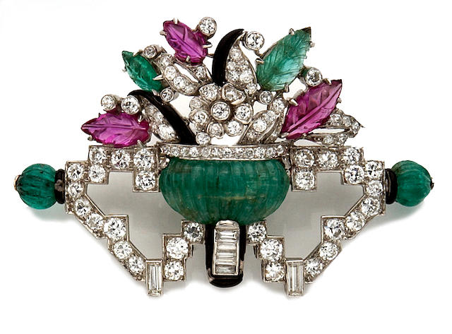 An art deco diamond, gem-set and enamel brooch,