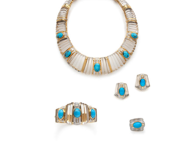 A suite of turquoise, rock crystal and diamond jewelry