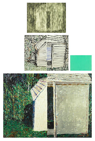 Jennifer Bartlett (American, born 1941) House with Open Door #11, 1988 (4 parts) top 11 x 14in (28 x 35.5cm) center left 13 1/4 x 16 1/4in (33.6 x 41.2cm) center right 6 1/2 x 9in (16.5 x 22.9cm) bottom 28 3/4 x 39 1/2in (73 x 100.3cm)