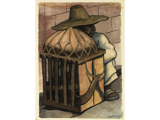 Diego Rivera (Mexican, 1886-1957), Cargador Descansando, 1937