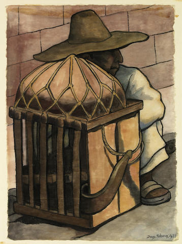 Diego Rivera (Mexican, 1886-1957) Cargador descansando, 1937 15 3/16 x 10 13/16in (38.5 x 27.5cm)