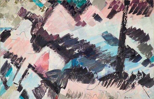 Erle Loran (American, 1905-1999) Rock and Stream, 1954 33 1/2 x 52in (85 x 132cm)