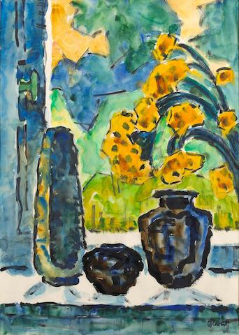 Karl Schmidt-Rottluff (German, 1884-1976) Frühling am fenster, 1966 27 1/2 x 19 1/2in (69.9 x 49.5cm)