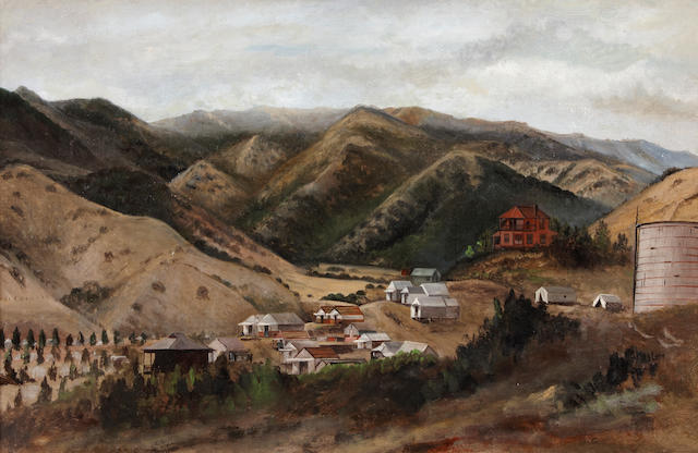 (n/a) Lockwood  De Forest (American, 1850-1932) Houses (believed to be on Santa Catalina Island) 11 x 17in