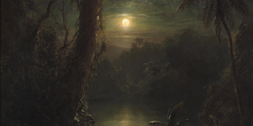 Frederic Edwin Church (American, 1826-1900) Twilight in the Tropics (A tropical moonlight) 30 x 25 1/4in