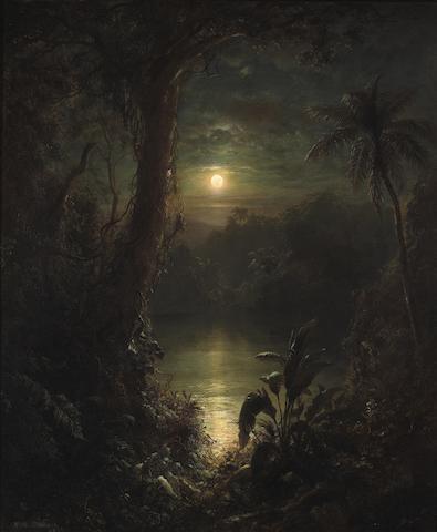 Frederic Edwin Church (American, 1826-1900) Twilight in the Tropics (A tropical moonlight) 30 x 25 1/4in